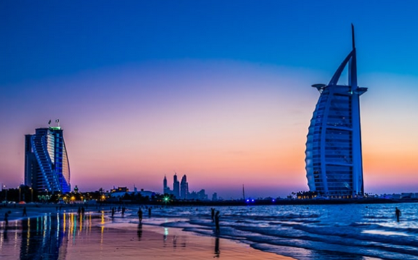Warm sunset atmosphere on the Dubai seafront.