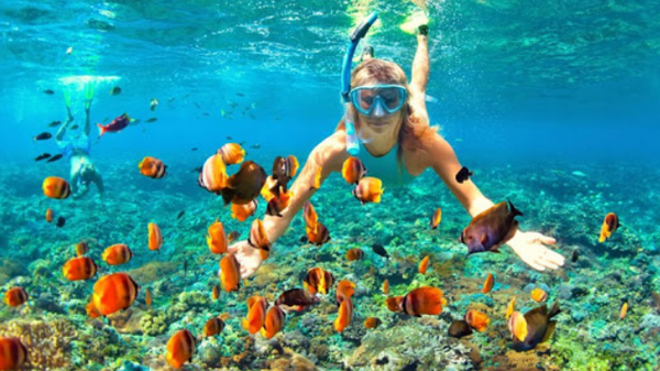 The girl is engaged in snorkelling in the Red Sea.